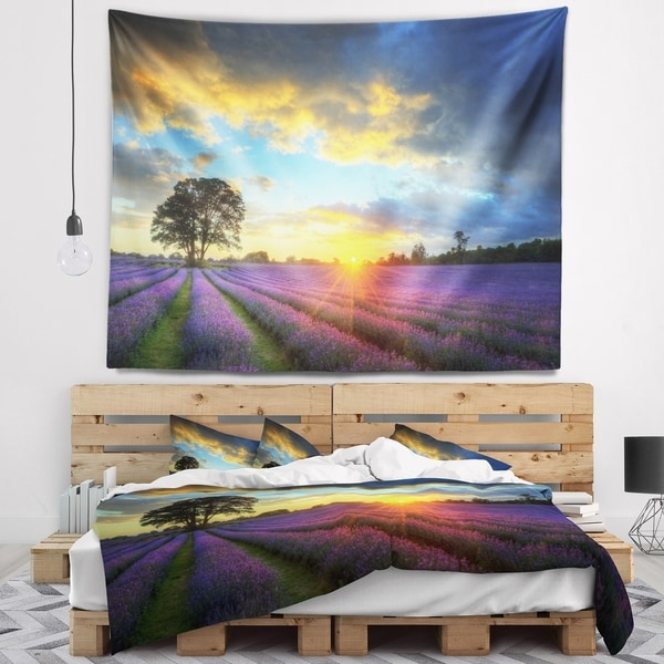 Designart 'Colorful Sky over Vibrant Lavender Field' Floral Wall Tapestry