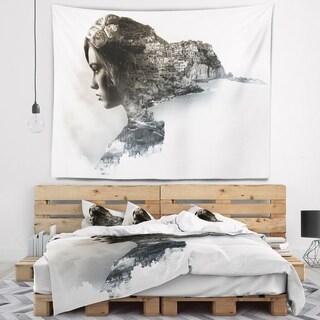 Designart 'Stylish Woman and View of Manarola' Portrait Wall Tapestry