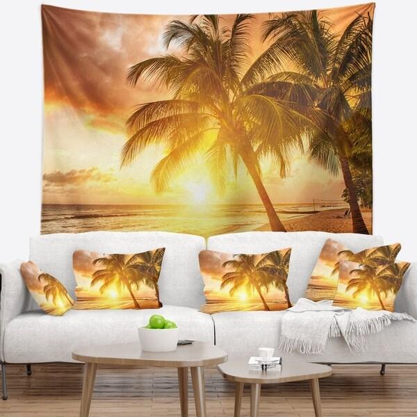 Designart 'Bright Sunset at Barbados Island' Modern Seascape Wall Tapestry