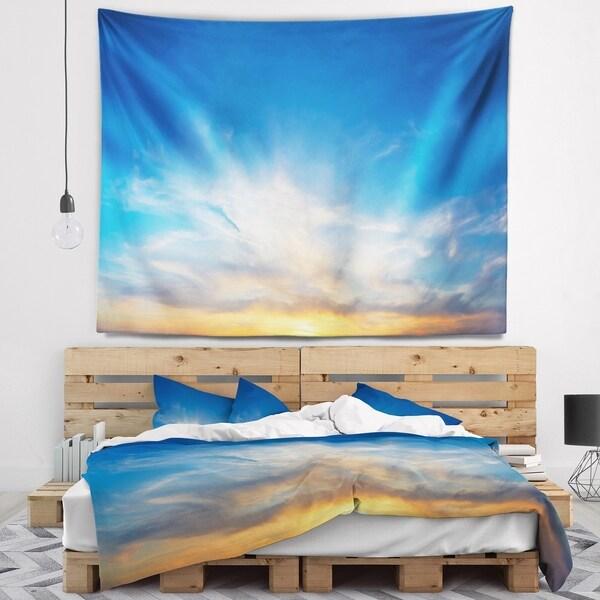 Designart 'Bright Blue Evening Sky Panorama' Contemporary Landscape Wall Tapestry