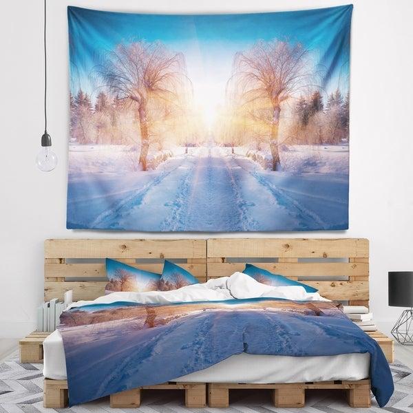 Designart 'Winter Landscape in City Park' Landscape Wall Tapestry