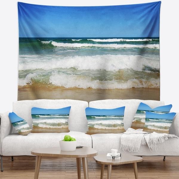 Designart 'Beautiful Empty Beach under Blue Sky' Seashore Wall Tapestry