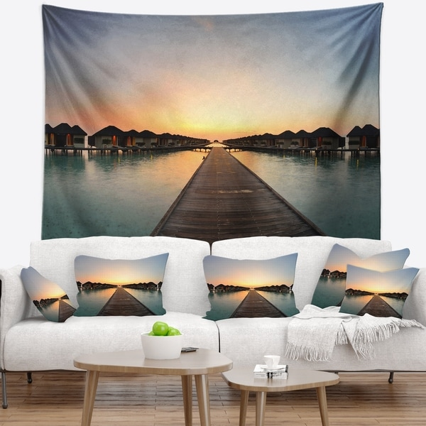 Designart 'Long Wooden Pier into the Ocean' Wooden Sea Bridge Wall Tapestry