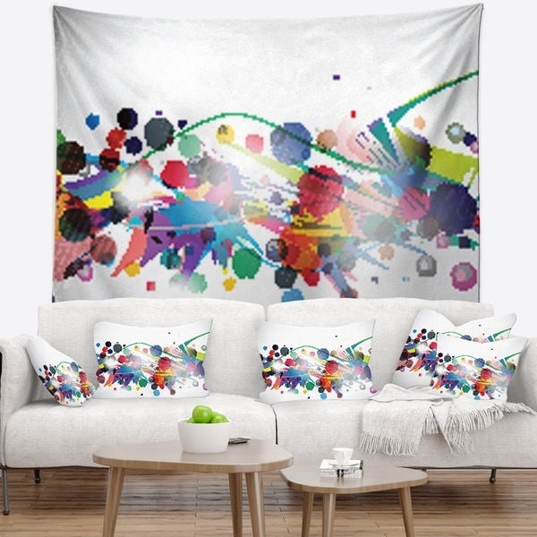 Designart 'Colorful Circles and Shapes' Abstract Wall Tapestry