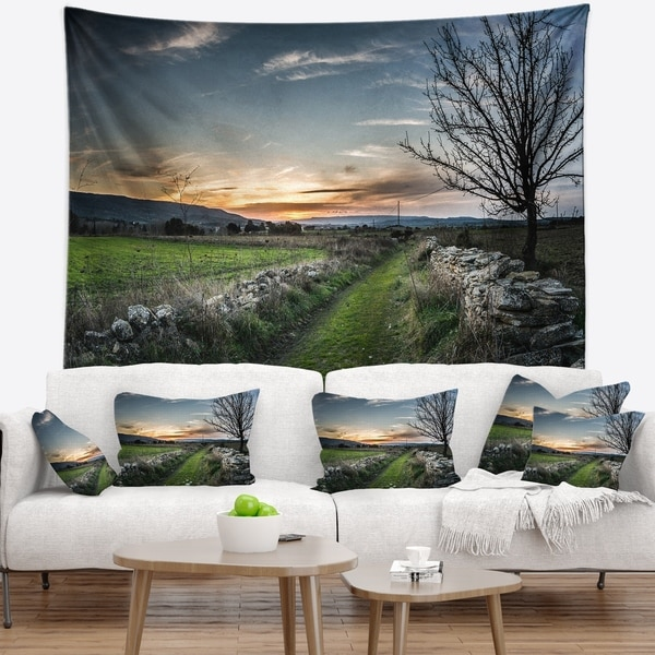 Designart 'Rocky Fences in Green Grassland' Landscape Wall Tapestry
