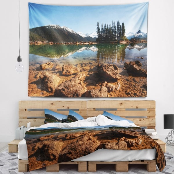 Designart 'Beautiful Clear Lake with Pine Trees' Landscape Wall Tapestry