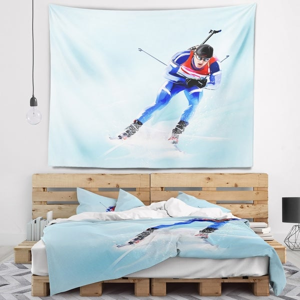 Designart 'Professional Male Skier' Abstract Portrait Wall Tapestry