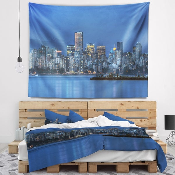 Designart 'Vancouver Downtown in Evening' Wall Tapestry