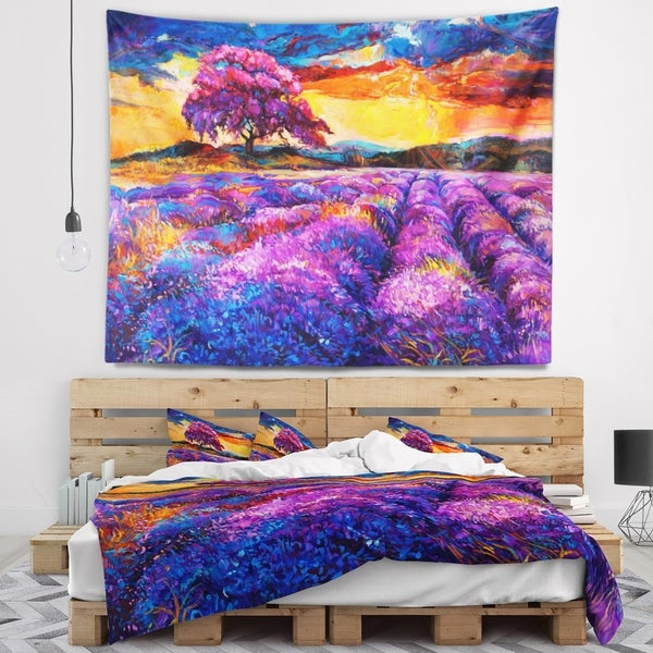 Designart 'Colorful Lavender Fields' Photography Wall Tapestry