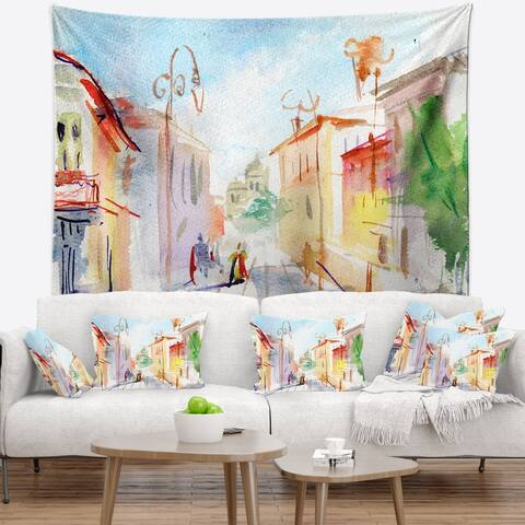 Designart 'Illustrated Parisian Street' Watercolor Cityscape Wall Tapestry
