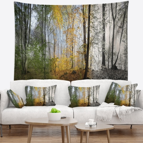 Designart 'Forest in Early Morning' Landscape Photography Wall Tapestry