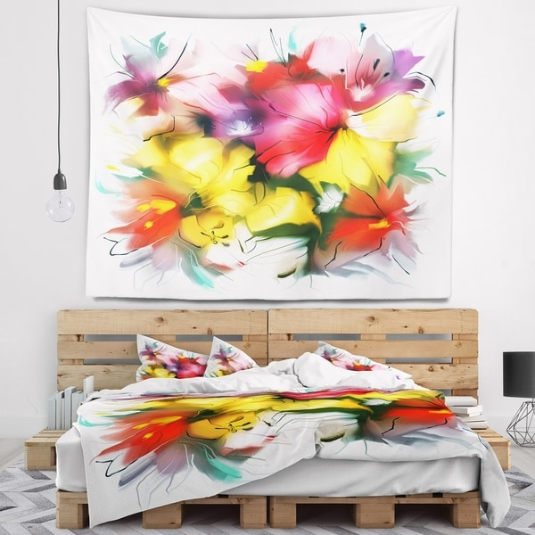Designart 'Textured Flowers in Multiple Hues' Contemporary Wall Tapestry
