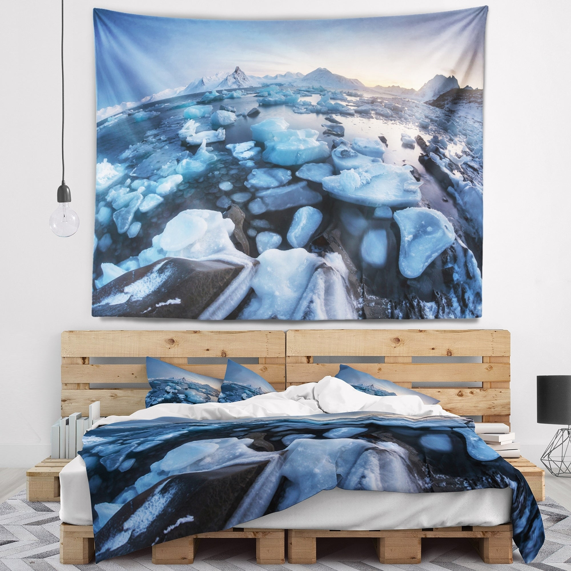 Designart Unusual Arctic Ice Landscape Seashore Wall Tapestry Overstock 20925076