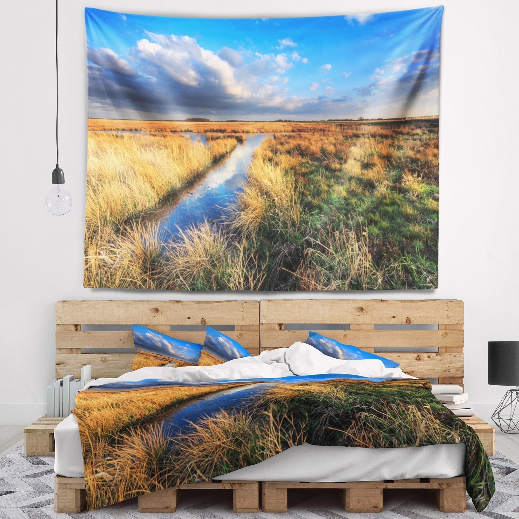 x 68 in x Large: 80 in Designart TAP14801-80-68 Beautiful Meadow with Blue Sky Landscape Tapestry Blanket D/écor Wall Art for Home and Office Created on Lightweight Polyester Fabric