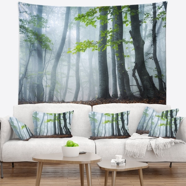 Designart 'Green Leaves in Old Forest' Landscape Photography Wall Tapestry