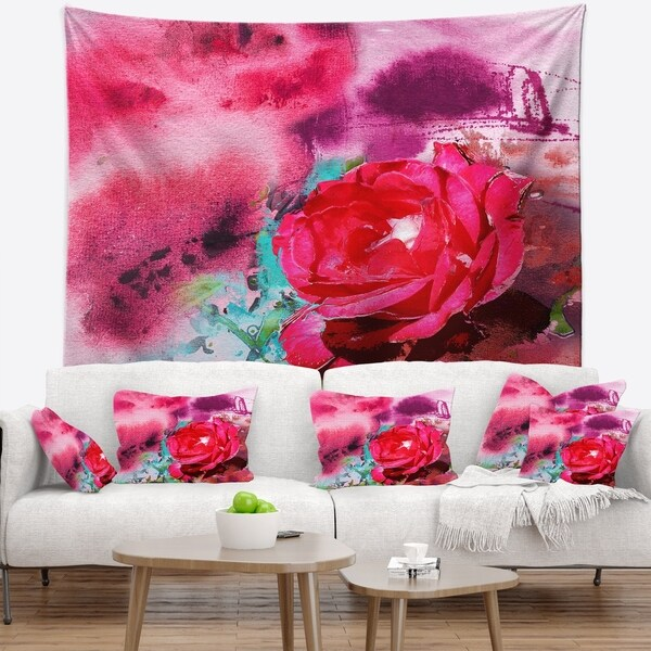 Designart 'Red Rose on Abstract Paper' Floral Wall Tapestry