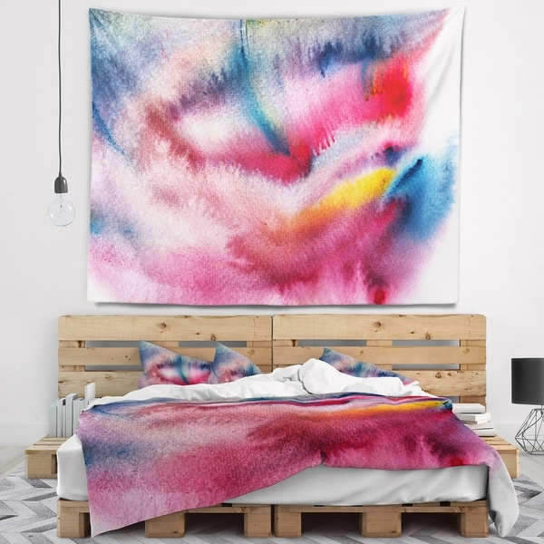 Designart 'Blue and Red Abstract Stain' Abstract Wall Tapestry