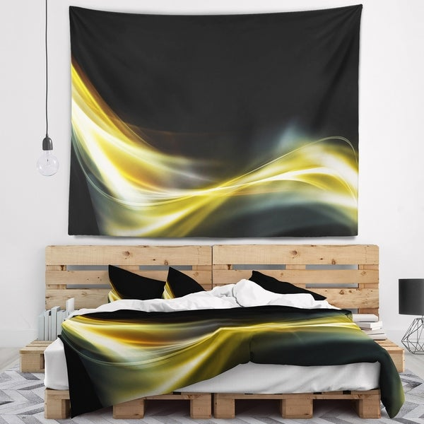 Designart 'Gold in Black Upward Lines' Abstract Wall Tapestry
