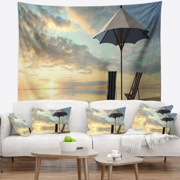 Designart 'Deck Chairs and Umbrella on Beach' Modern Seascape Wall Tapestry