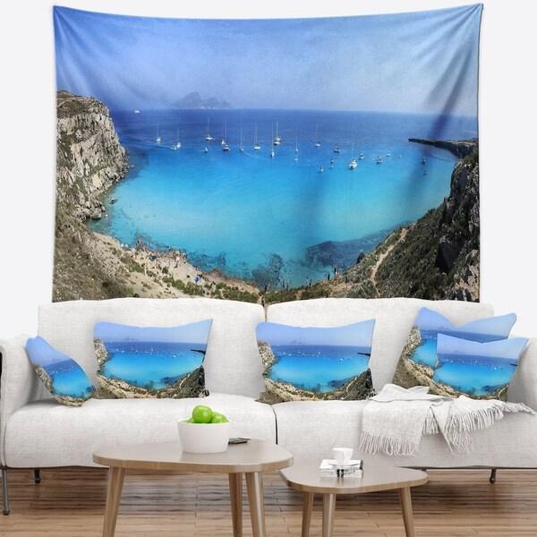 Designart 'Cala Rossa Beach Sicily Italy' Modern Seascape Wall Tapestry