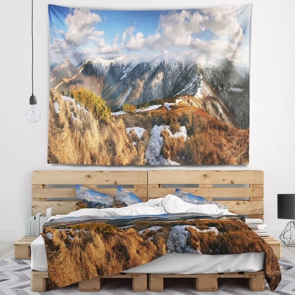 Designart 'Mountains with Sun at Vratna Valley' Landscape Wall Tapestry