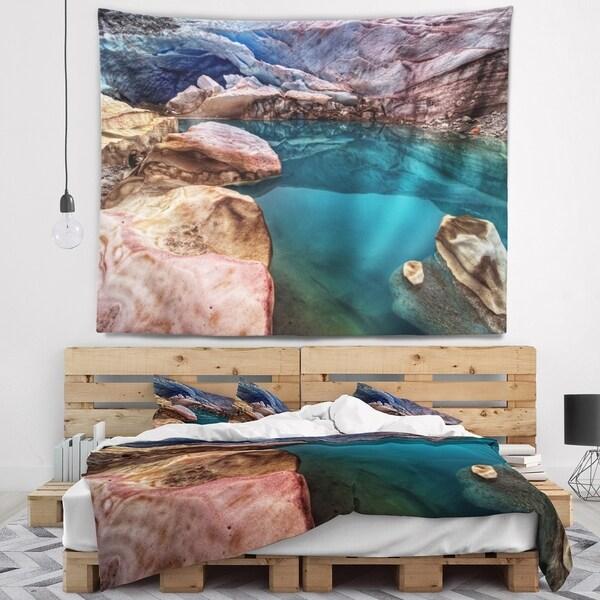 Designart 'Deep Glacier Cave in Blue' Landscape Wall Tapestry