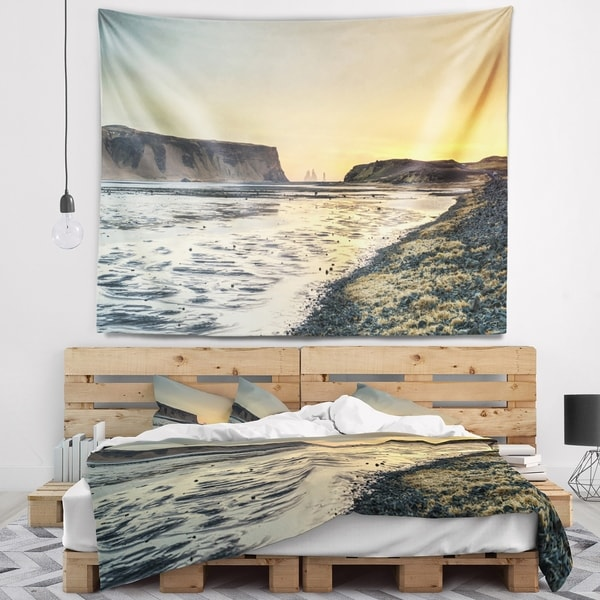 Designart 'Dyrholaey View Unto Reynisfjara' Seashore Wall Tapestry