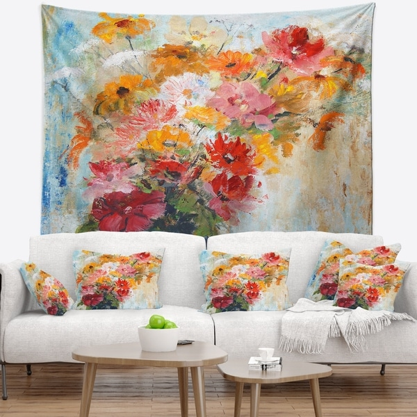 Designart 'Flowers in Vase Painted Illustration' Floral Wall Tapestry