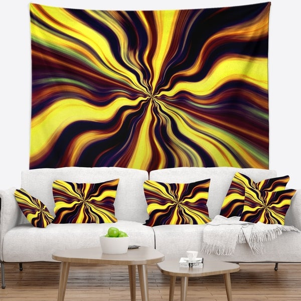 Designart 'Yellow Purple Black Fantasy' Abstract Wall Tapestry