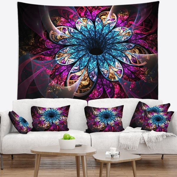 Designart 'Fractal Flower Blue Red Digital Art' Flower Wall Tapestry