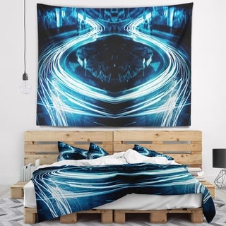 Designart 'Blue Light Trails' Abstract Wall Tapestry