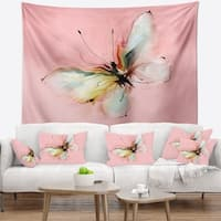 Designart 'Colorful Butterfly Drawing' Floral Wall Tapestry