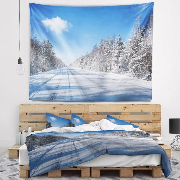 Designart 'Winter Road' Landscape Photography Wall Tapestry