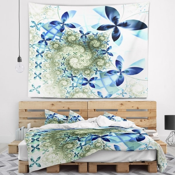 Designart 'Blue and Green Fractal Flowers' Floral Wall Tapestry