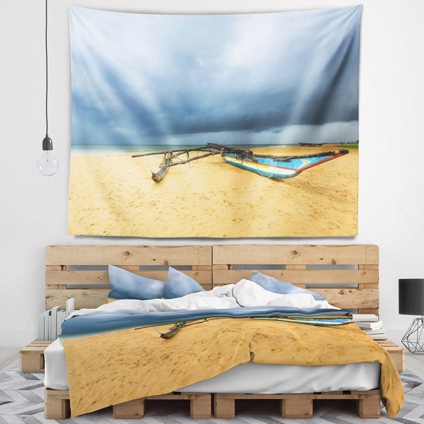 Designart 'Beach with Dark Clouds above Ocean' Seashore Wall Tapestry