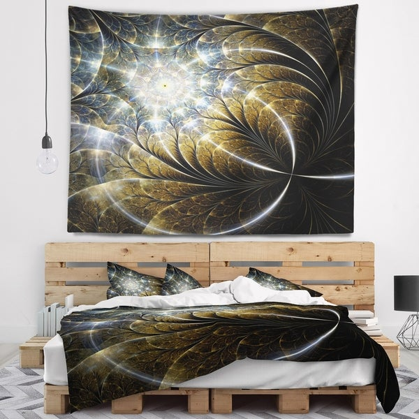Designart 'Symmetrical Dark Golden Fractal Flower' Abstract Wall Tapestry
