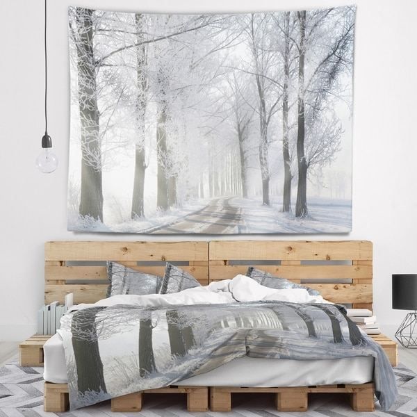 Designart 'Winter Rural Road in the Morning' Forest Wall Tapestry