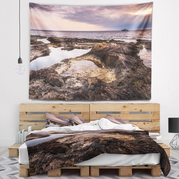 Designart 'Rough Rocky Coastline Africa' Oversized Beach Wall Tapestry