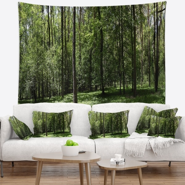 Designart 'Wild Green Forest Panorama' Oversized Forest Wall Tapestry