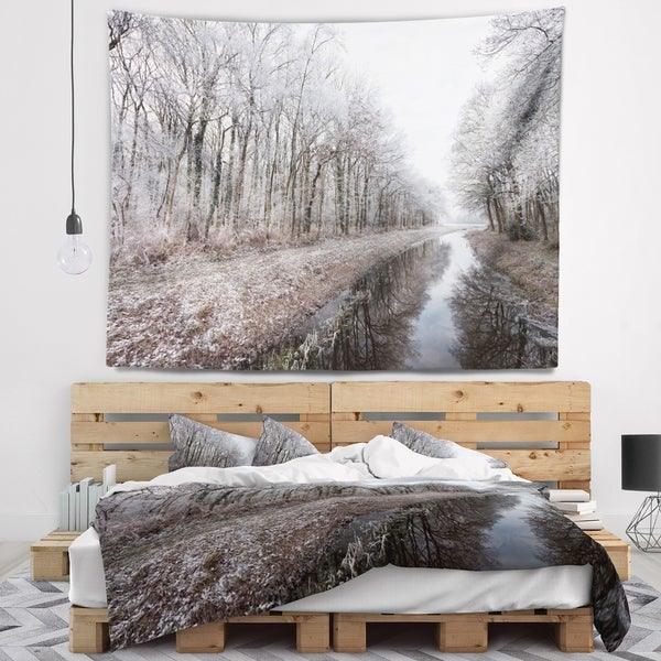 Designart 'Trees in White Winter Landscape' Landscape Wall Tapestry