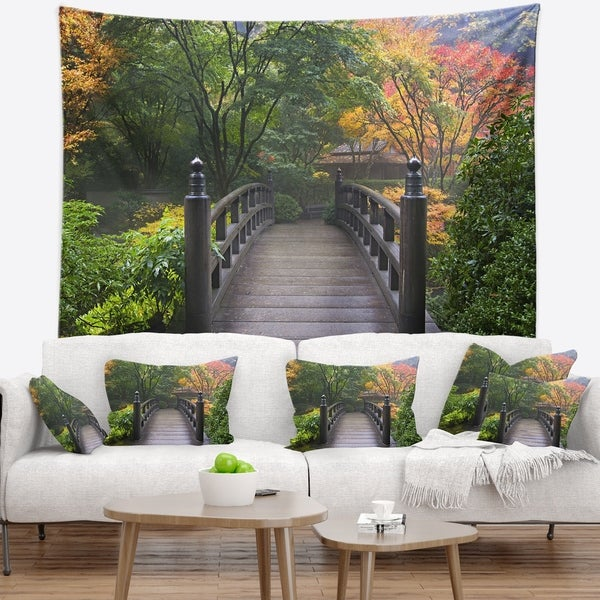 Designart 'Wood Bridge at Japanese Garden In Fall' Bridge Wall Tapestry