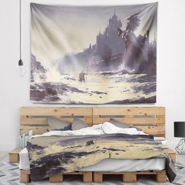 Designart 'Dark Fantasy Castle' Landscape Painting Wall Tapestry