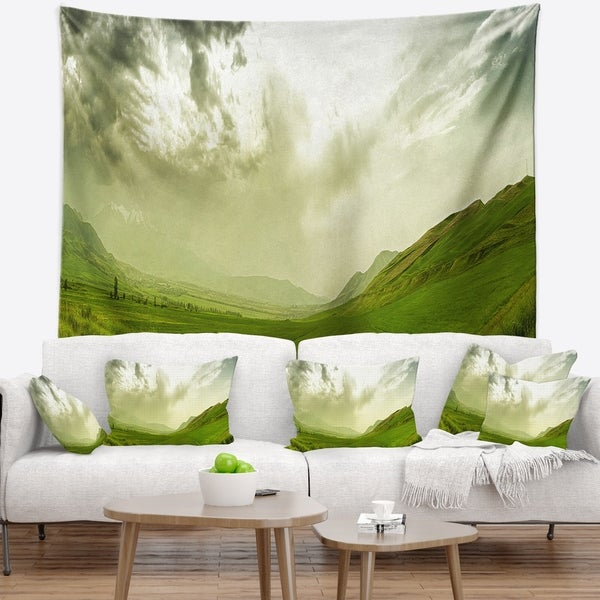 Designart 'Meadow under Clouds Panorama' Landscape Wall Tapestry
