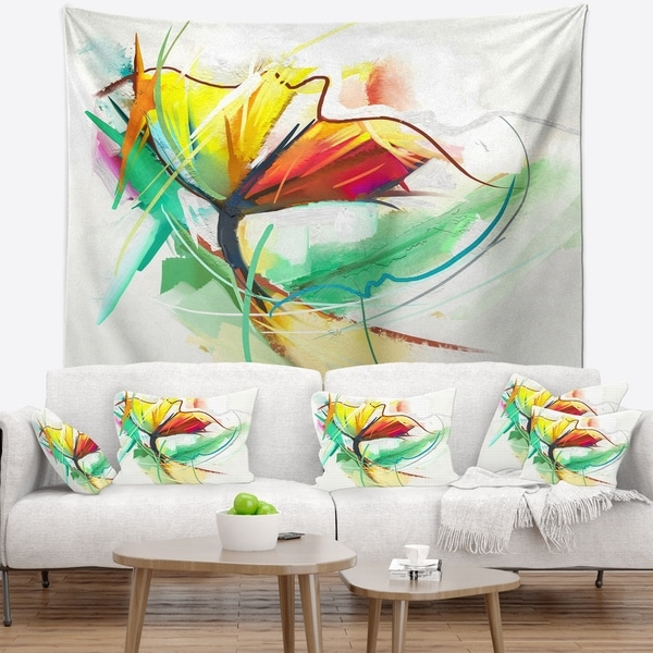 Designart 'Still Life of Yellow Red Color Flower' Floral Wall Tapestry