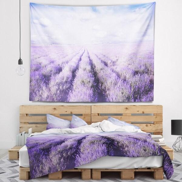 Designart 'Fields of Lavender Against Blue Sky' Landscape Wall Tapestry