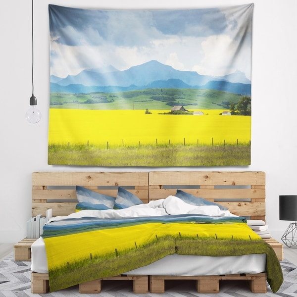 Designart 'Farm House in Field Of Canola' Landscape Wall Tapestry
