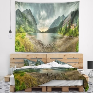 Designart 'Mountain Chalet at Sunset Panorama' Landscape Wall Tapestry