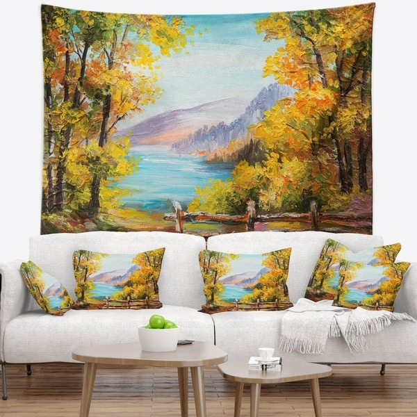 Designart 'Mountain Lake in the Fall' Landscape Wall Tapestry