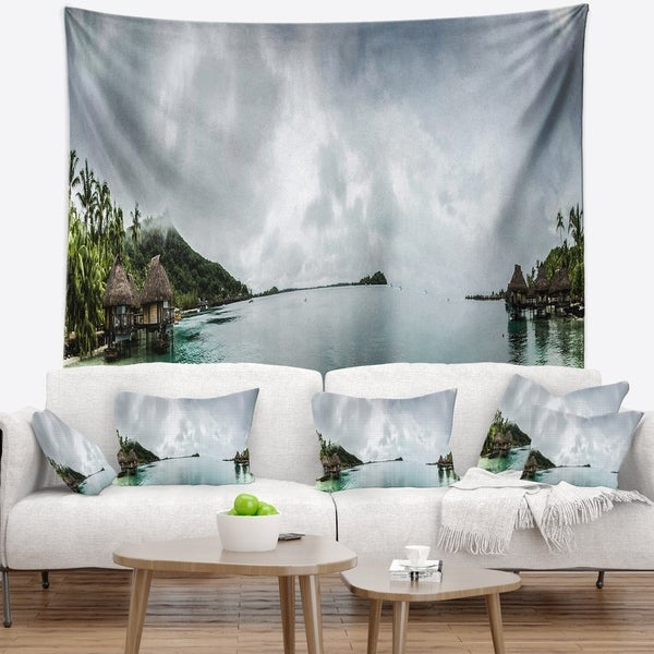 Designart 'Amazing Bora Bora Panoramic View' Seascape Wall Tapestry