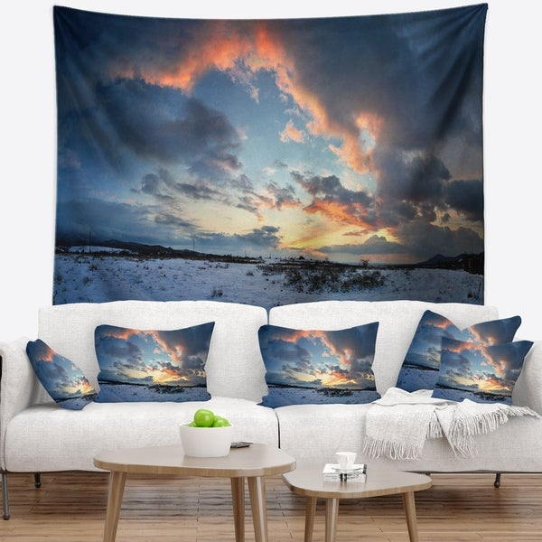 Designart 'Dark Winter Sky' Landscape Photography Wall Tapestry